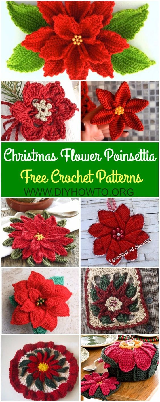Collection of Crochet Poinsettia Christmas Flower Free Patterns ...