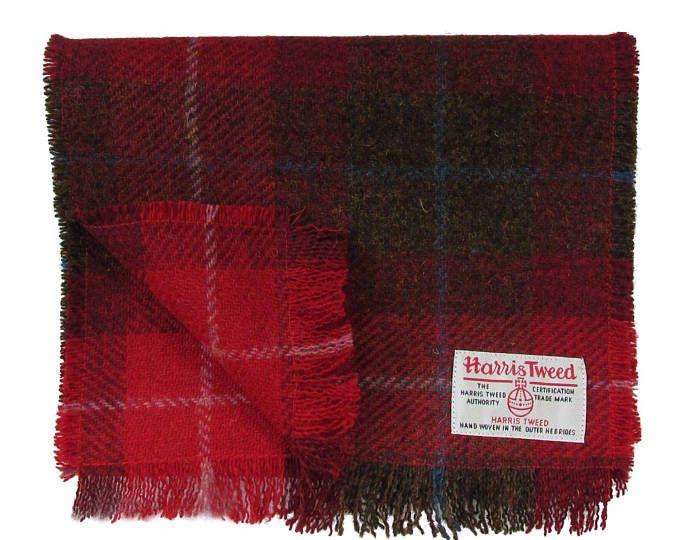 Harris Tweed Red   Brown Tartan Luxury Pure Wool Mens or Womens Neck Scarf 397e02c3393