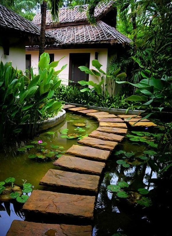 platten laufweg fr ein garten design im japanischen stil gartengestaltung 60 fantastische garten ideen deko garten pinterest japanischer stil - Schone Japanische Gartengestaltung Landschaftsgestaltung Ideen Fur Kleine Raume