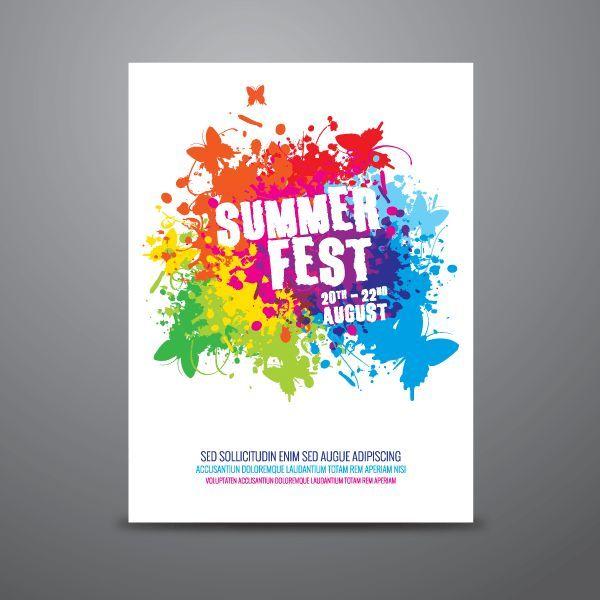 Photo of Sommerfest-Plakat-Design-Schablonen-Vektor   – Free Vectors – #Free #SommerfestP…
