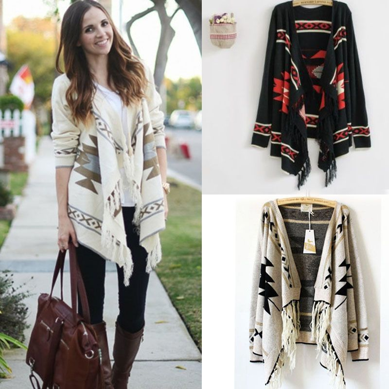 Women Geometric Sweater Aztec Tribal Fringe Indian Hippie Knitted ...