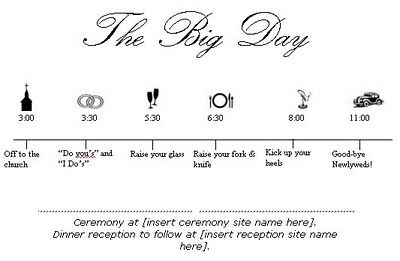 Wedding Day Timeline Cute Idea To Keep Everybody On Schedule  My