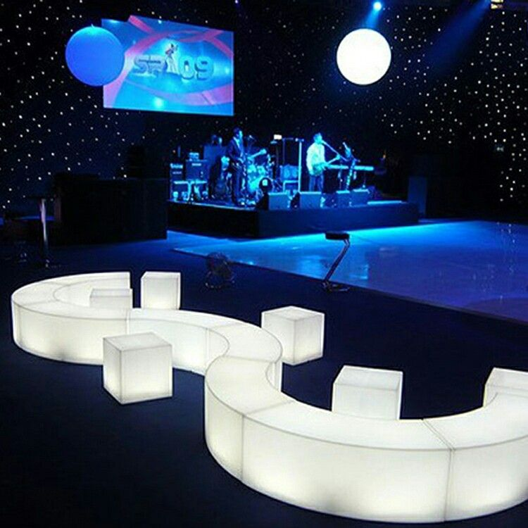 Create Cool Shaped Lounge Areas And Light Up Your Party Using Our Modular Led Benches Ledbench Ledfurniture Glowfur Led Furniture Lounge Lighting Led Decor