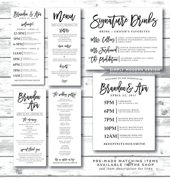 Event Sign Wedding Itinerary Timeline Guest Schedule Guest