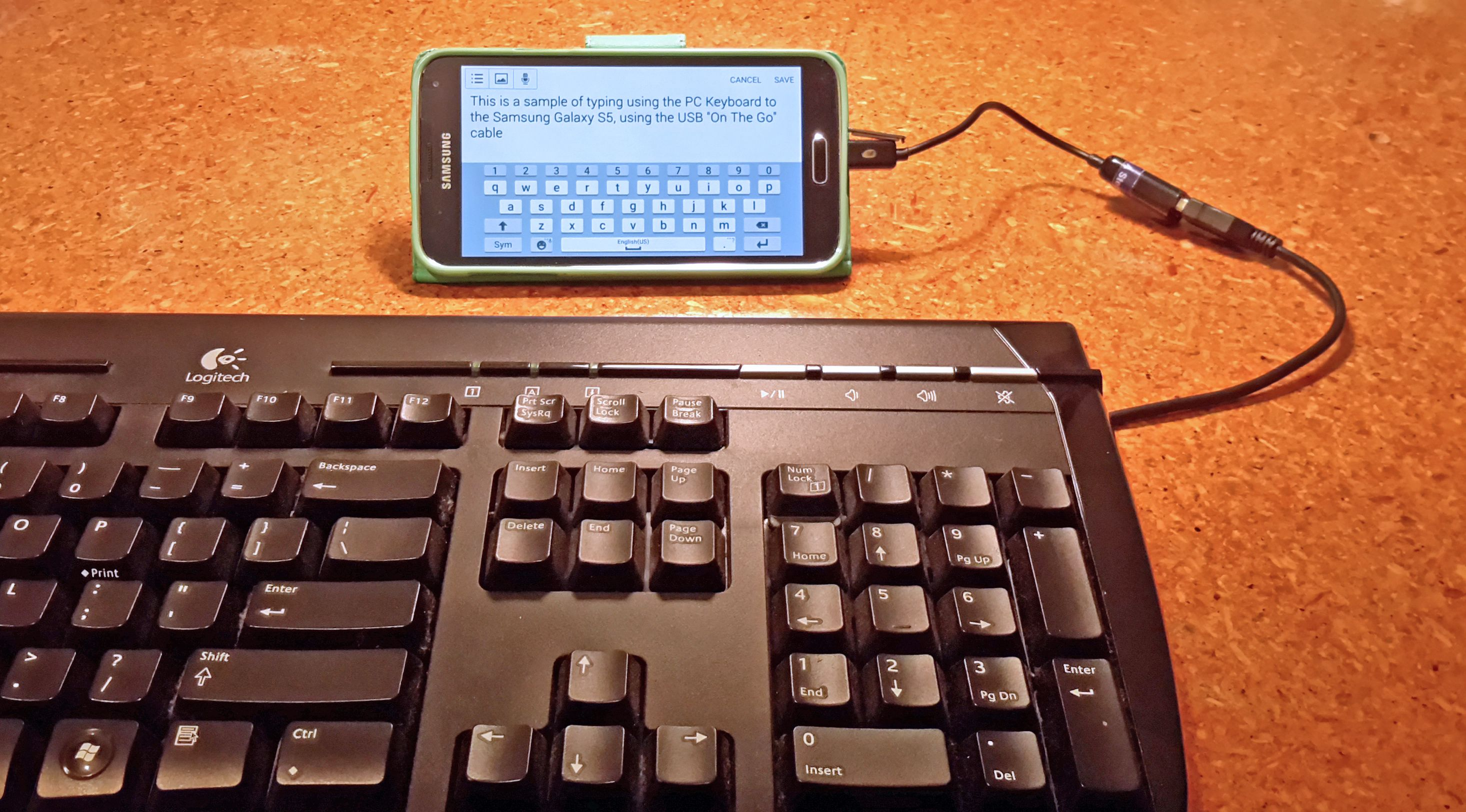 Connect a full size pc keyboard to your samsung phone or