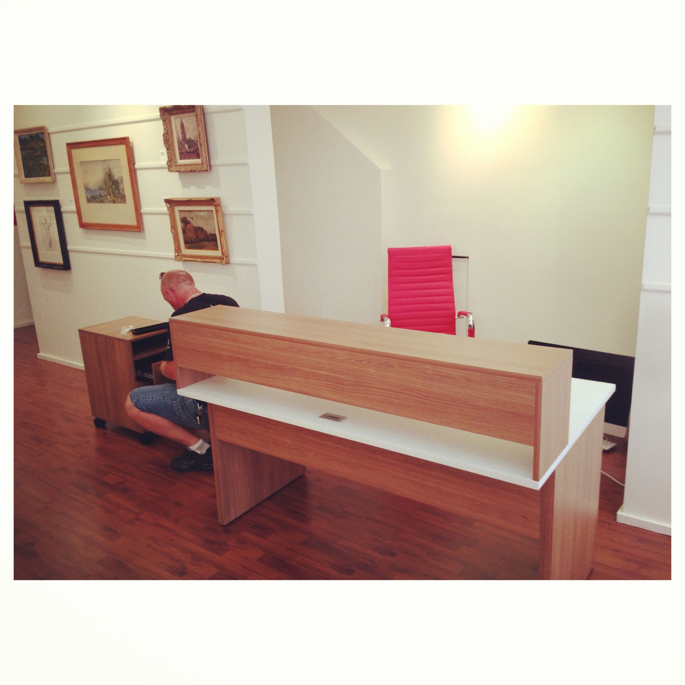 Check out our new desk for our reception area in the gallery!