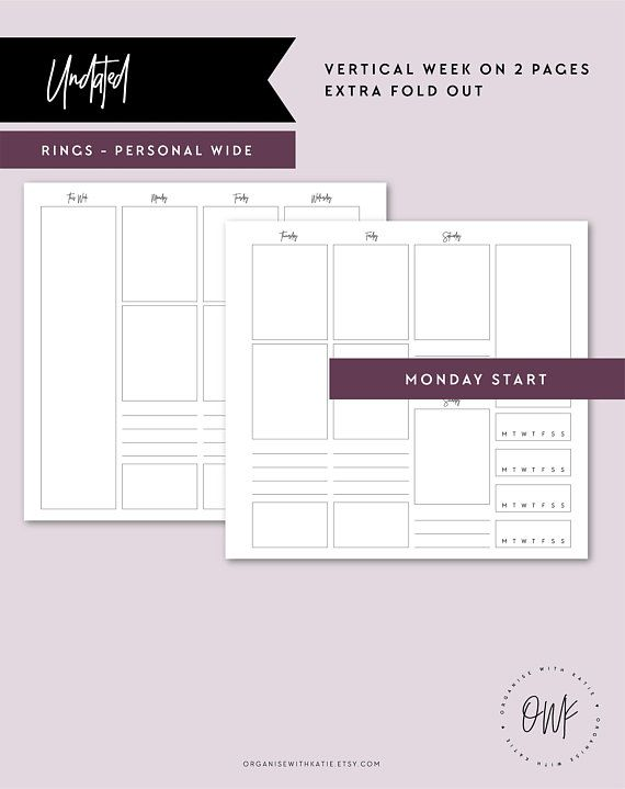 pers wide undated vertical week on 2 pages fold out printable
