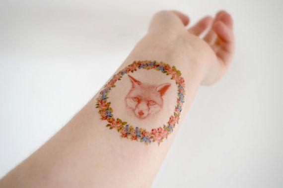 Fox Temporary Tattoo  Fox Illustration by HilliaryCustomLiving, $4.00