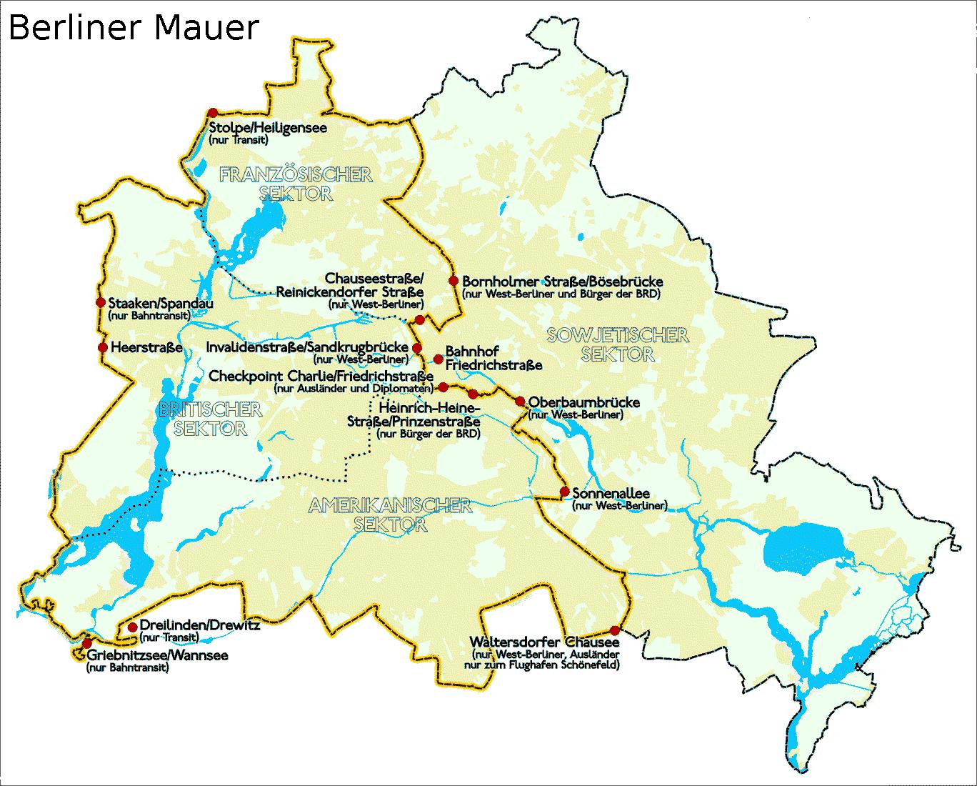 Verlauf Der West Berliner Gelb Und Ost Berliner Schwarz Stadtgrenzen Und Grenzubergangsstellen Stand 1989 Berliner Mauer Karte Deutschland Mauer