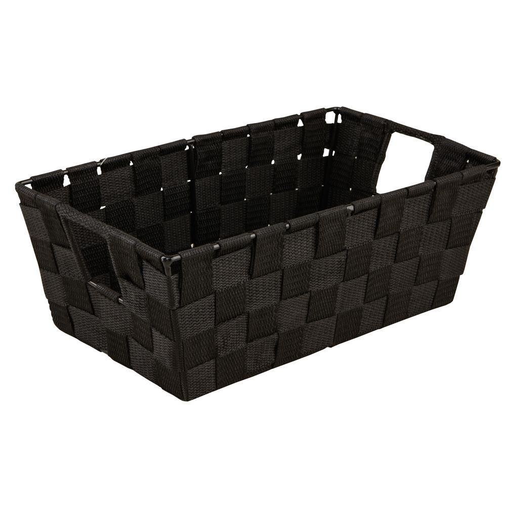 Simplify 8 In X 12 In Small Woven Strap Shelf Tote Bin In Black 25094 Black Storage Baskets Shelf Bins Small Shelves