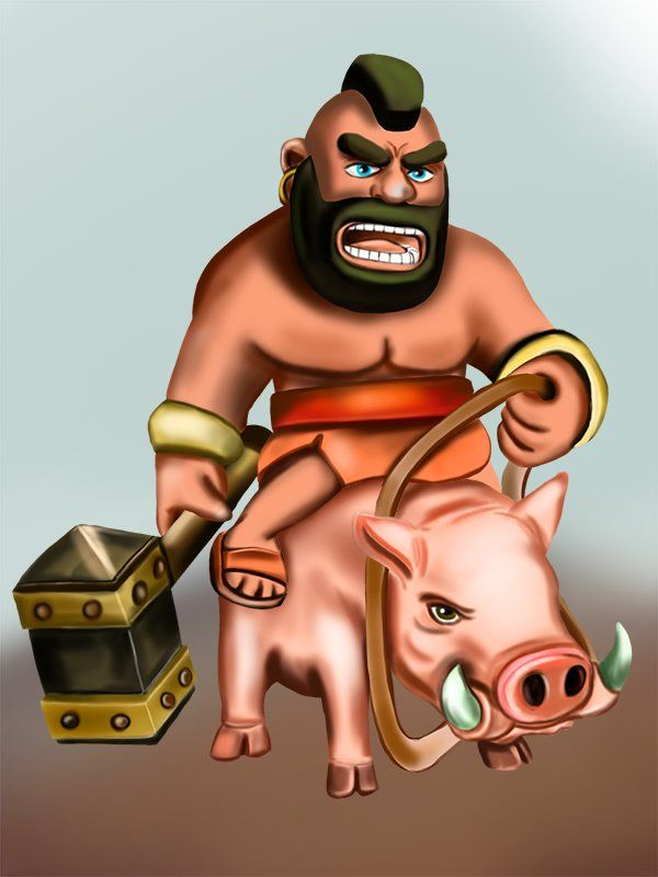 Learn How to Draw Hog Rider from Clash of the Clans (Clash of the Clans) Step by Step : Drawing Tutorials
