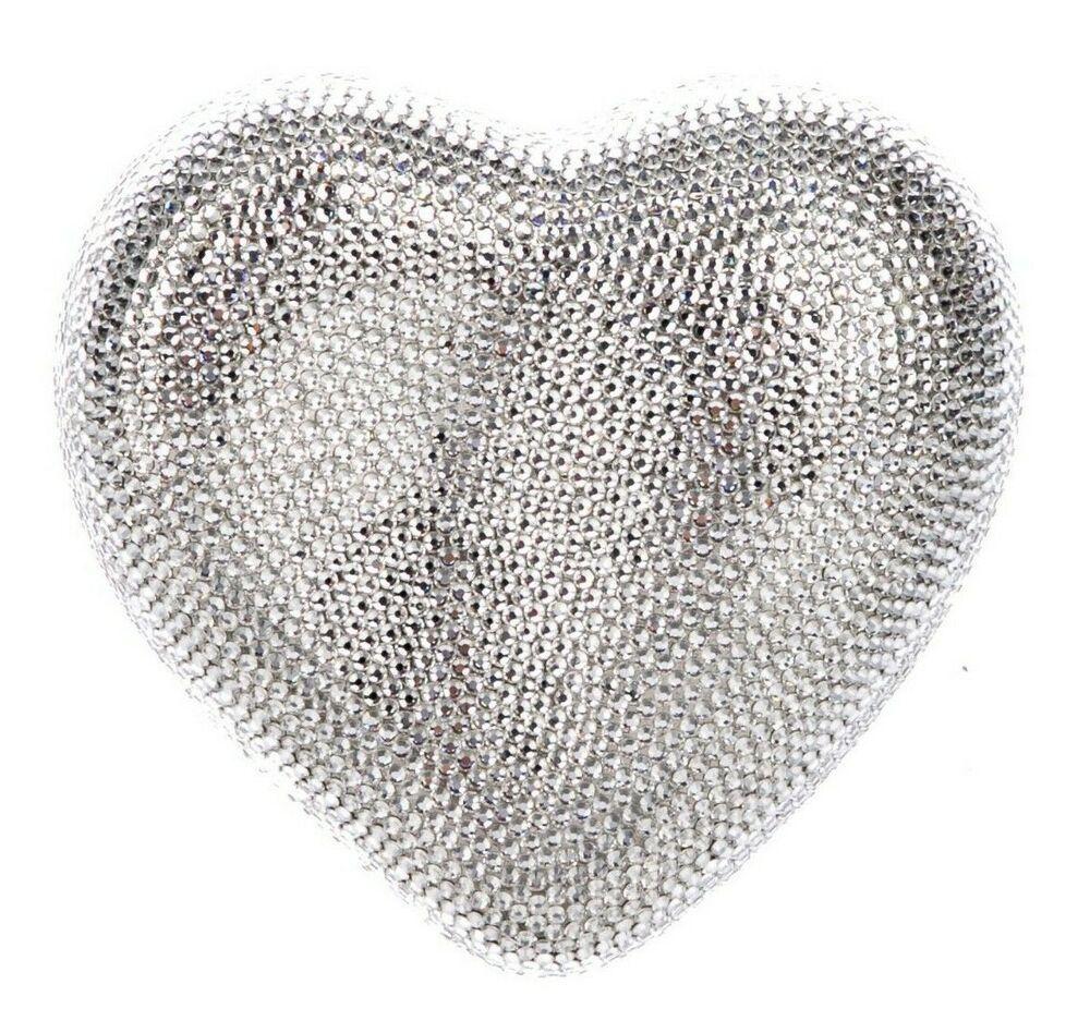 02af862a0230b Judith Leiber Heart n Soul Rhine Silver White Crystal Evening Clutch Bag  NEW  JudithLeiberLieberDesignerCouture  ShoulderBagEveningClutch