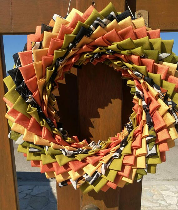 Photo of Outdoor quilted wreath, fall fabric wreath, Autumn decor wreath, folded fabric wreath, fall coloured door hunger,  housewarming gift