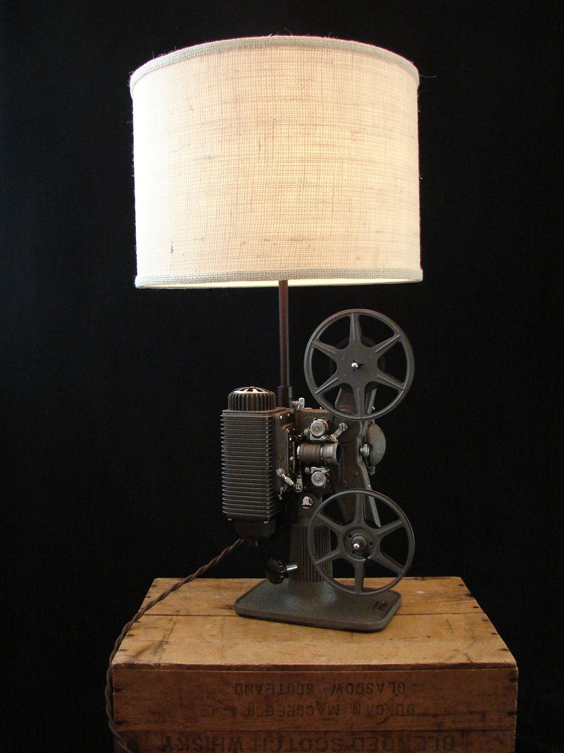 Upcycled Vintage Revere 8mm Projector Lamp | kule schtuff