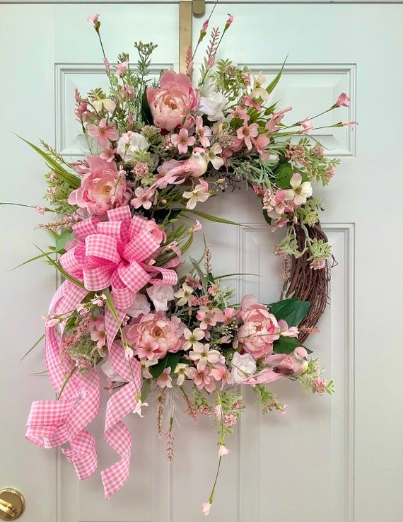 Photo of Spring wreath for front door. Peony and Rose Wreath. Wreath with Birds. Summer door wreath. Elegant wreath for spring.