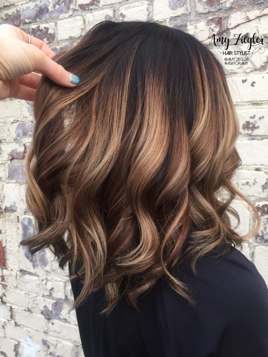 Lovely balayage highlights ideas for brunette short bob hairstyles
