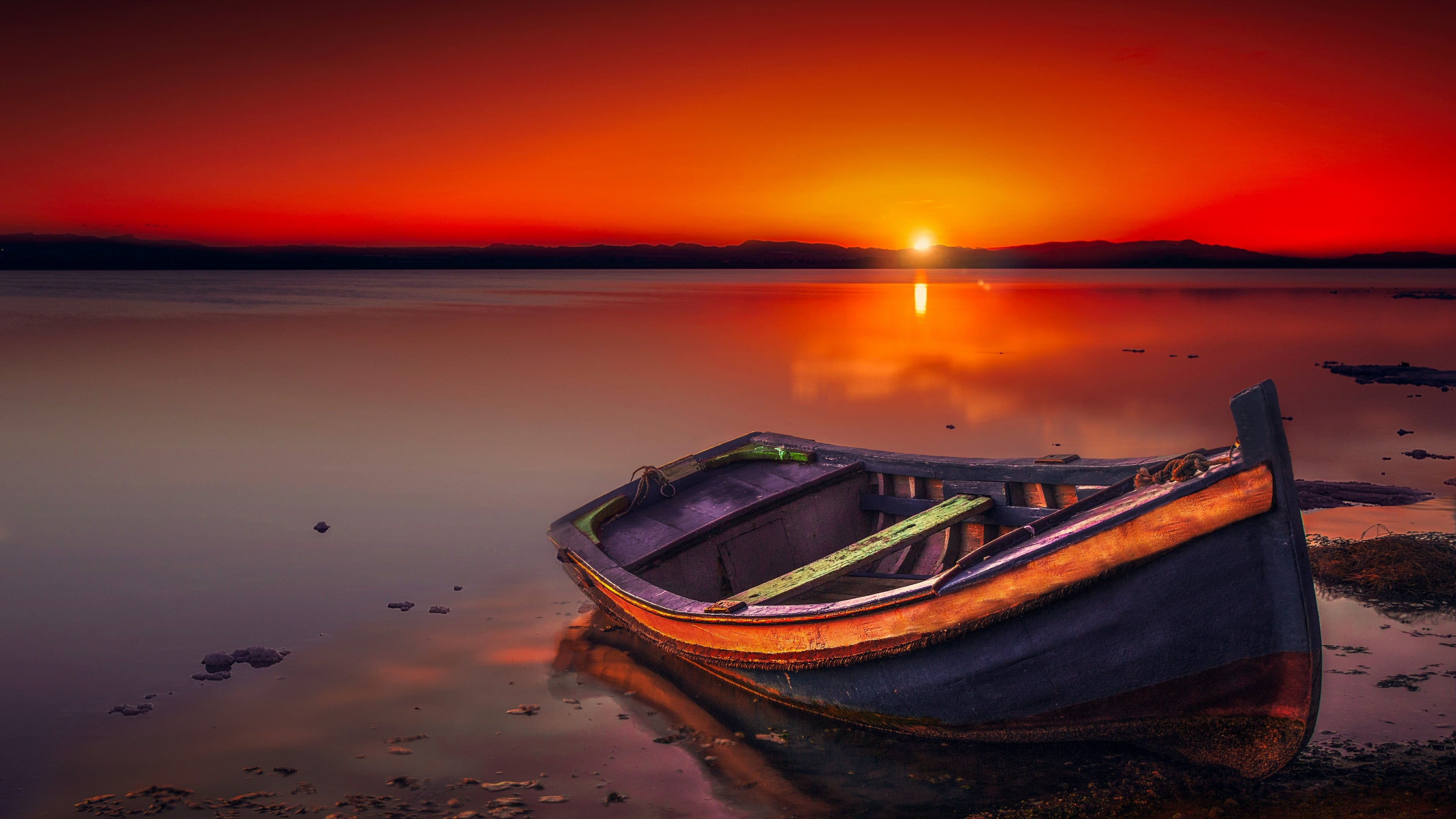 Boat Sunset Lake Horizon Calm Red Sky Red Sunset Afterglow Water Sky Shore Evening Sun Dusk 4k Wallpaper Hdw Sunset Wallpaper Red Sky Red Sunset Wallpaper sunset lake ice evening sky