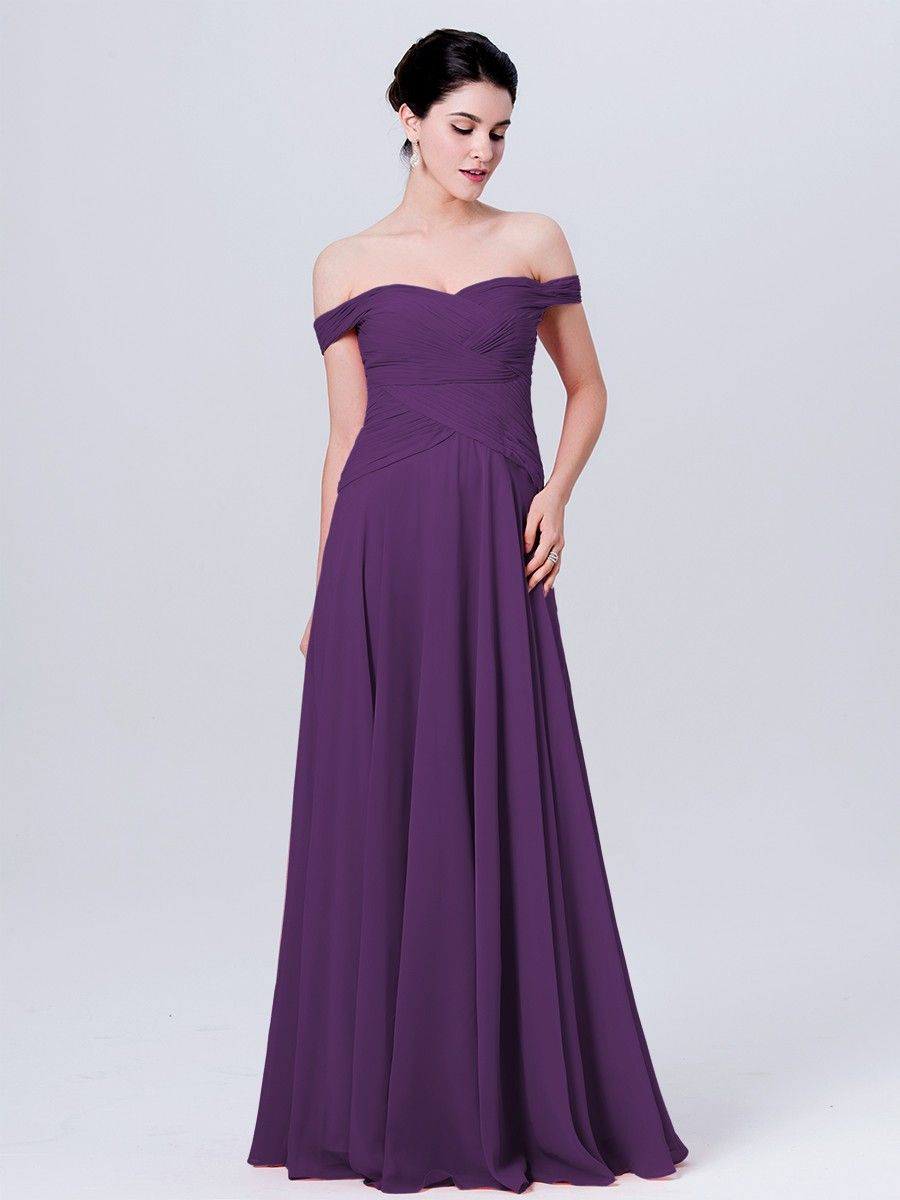 Off the shoulder Chiffon Dress Plus and Petite sizes