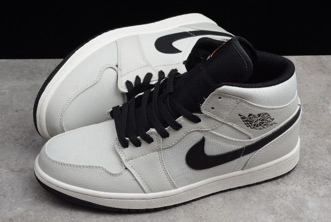 pretty nice 55cda 5ab4a New Air Jordan 1 Mid SE Canvas Light Bone Cone Black-Sail 852542-002-2