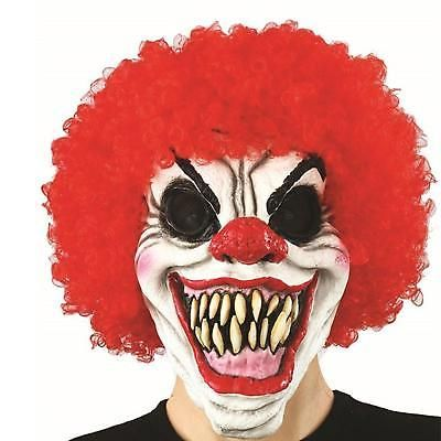 Red Clown Moving Mouth Mask Scary Horror Halloween Fancy Dress Talking Smile