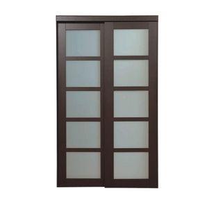 Truporte 72 In X 80 1 2 In 2290 Series Espresso 3 Lite Tempered Frosted Glass Composite Interior Sliding Door 249291 Sliding Doors Interior Glass Barn Doors Sliding Glass Door