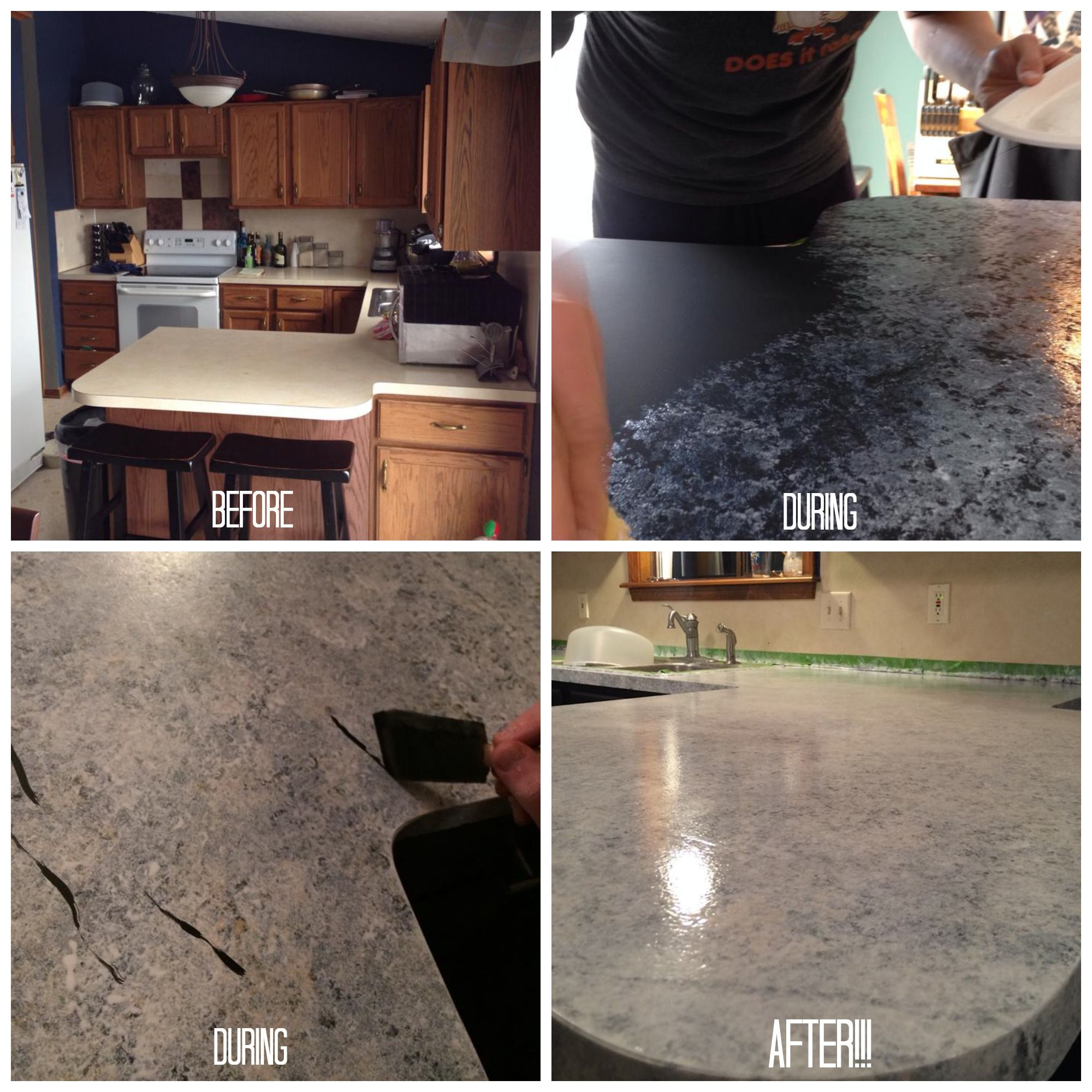 Giani Granite Countertop Paint Process Before And After Using The White Diamond Kit Www
