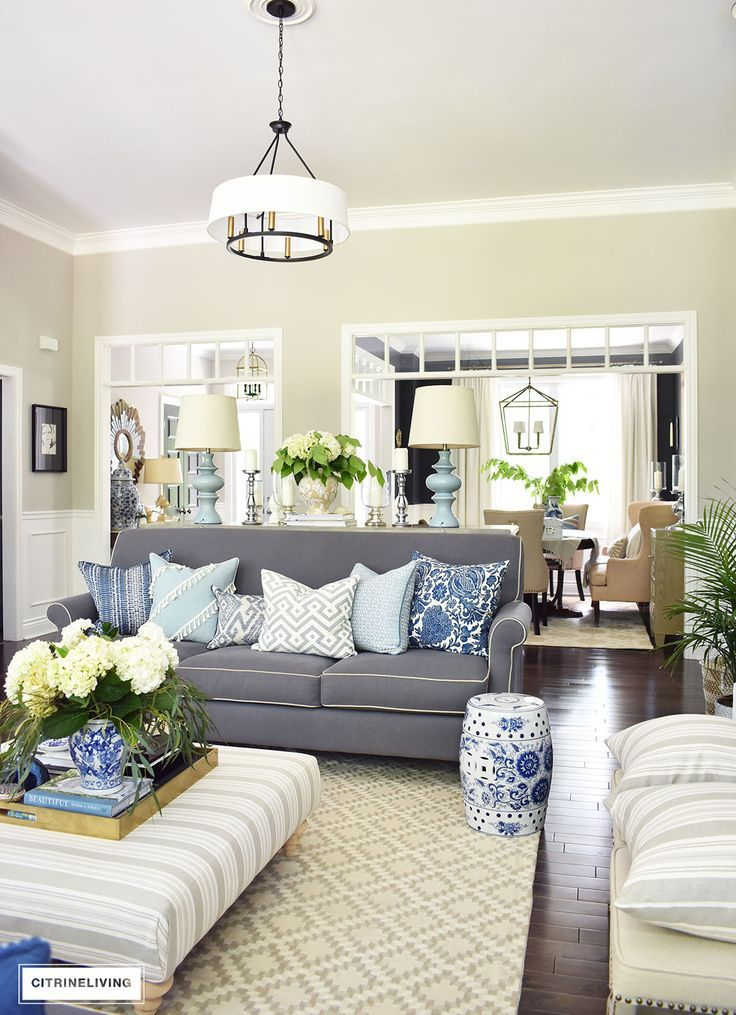 Shades of summer home tour with beautiful blues and fresh Shades of gray for living room
