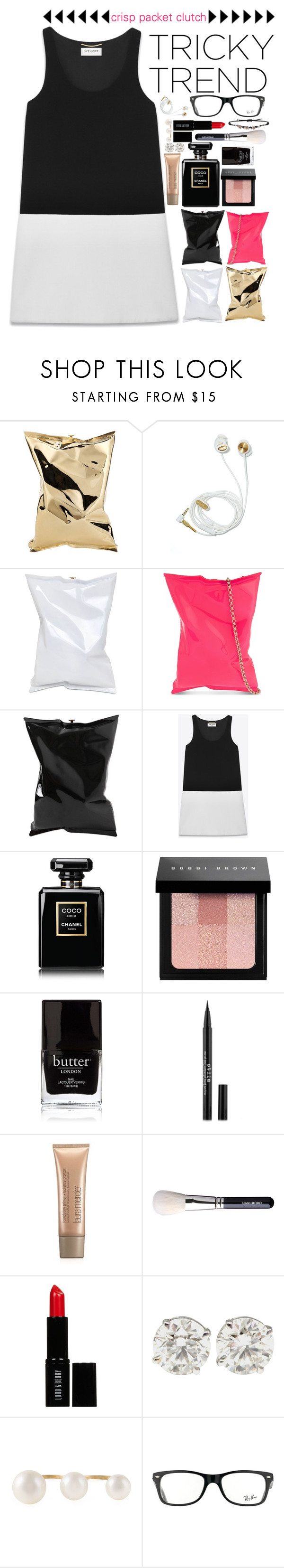 """""""Tricky Trend: Anya Hindmarch crisp packet clutch."""" by noa5353 ❤ liked on Polyvore featuring Anya Hindmarch, Yves Saint Laurent, Chanel, Bobbi Brown Cosmetics, Butter London, M&S, Laura Mercier, Lord & Berry, Delfina Delettrez and Ray-Ban"""