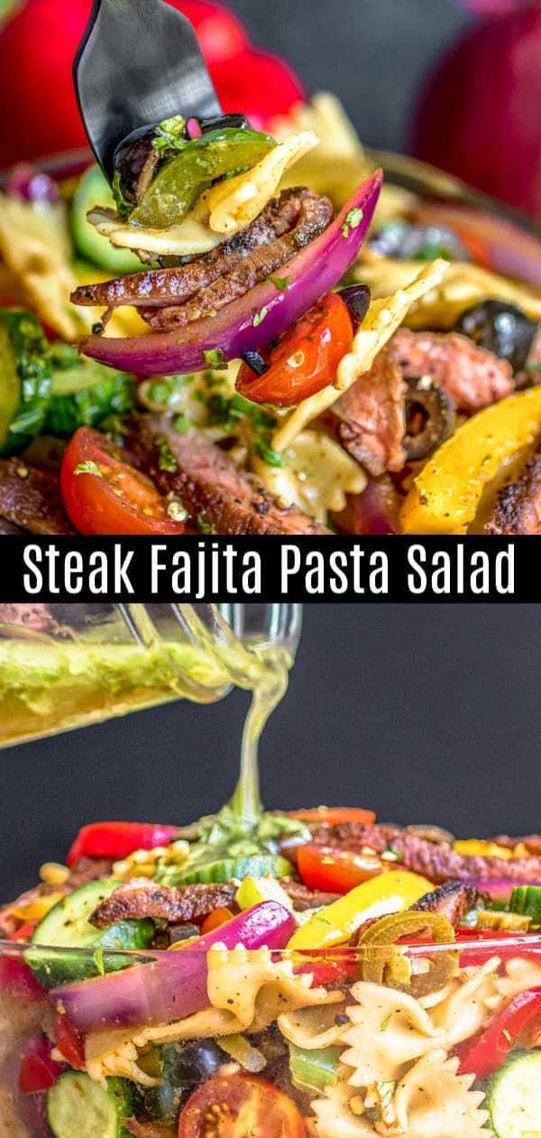 This Steak Fajita Pasta Salad is a simple mix of tender steak fajita, bells peppers, and onion, tossed with pasta and a zesty lime dressing. This easy pasta salad recipe is the perfect cold pasta salad for summer potlucks. #beef #steak #pastasalad #pasta #potluck #homemadeinterest #beefsteakrecipe