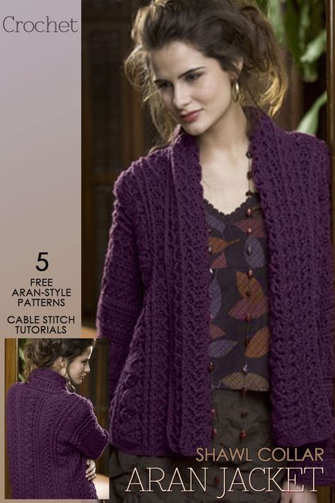 Aran Crochet | gorgeous shawl collar cardigan and 4 other free ...