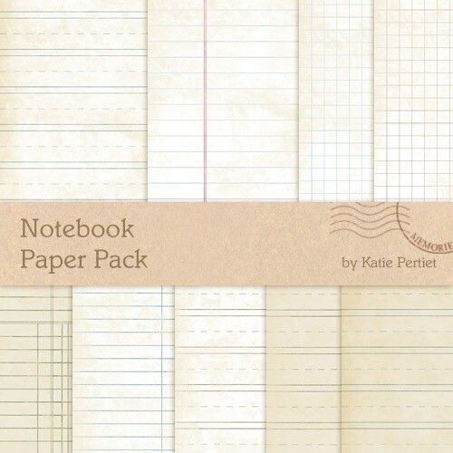 Notebook Paper Pack  Digital Scrapbooking Papers Designerdigitals