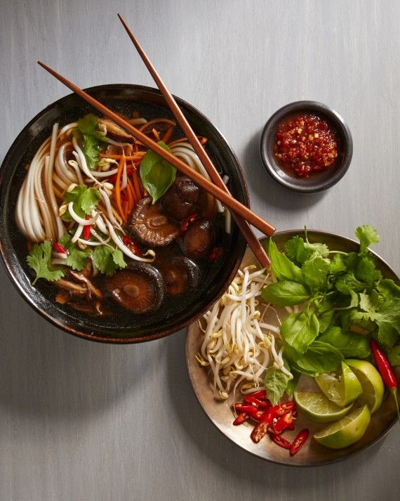 One of Martha's favorite dishes is vegetarian pho, a Vietnamese rice-noodle soup filled with mushrooms, carrots, and plenty of healthy spices, such as star anise, ginger, cloves, and cinnamon. It can even be made ahead!