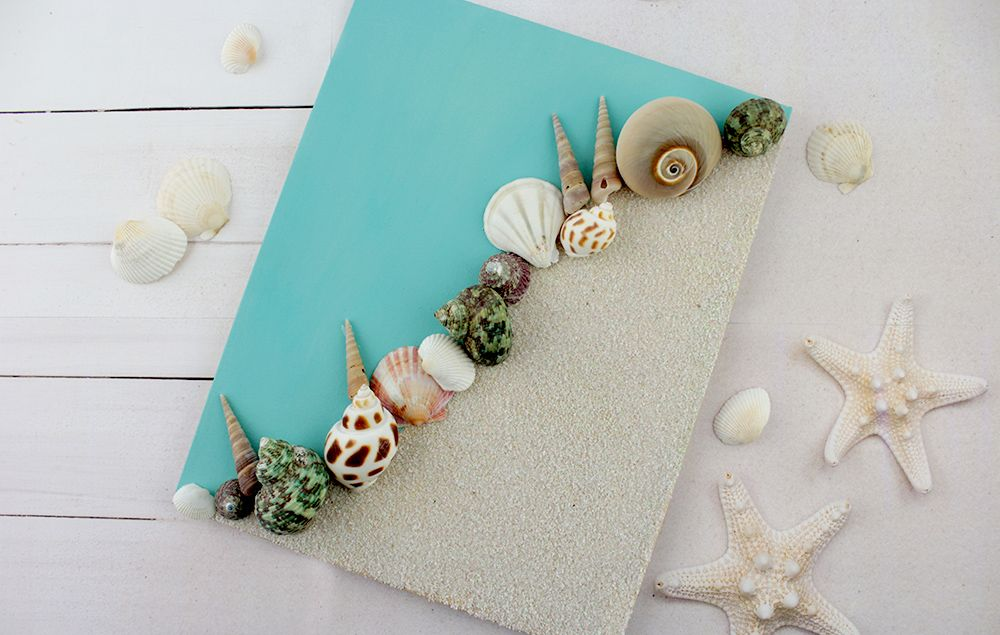Sand And Shell Canvas Art Diy Dg Shell Crafts Diy Bathroom Art Diy Bathroom Canvas Art