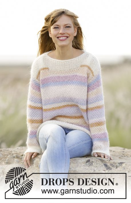 Knitted DROPS jumper with double moss st and stripes Alpaca and Kid ...