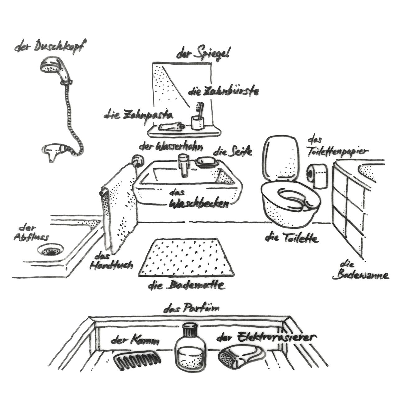 handgezeichnetes deutsch — 008. das badezimmer | daf, daz - wörter, Badezimmer ideen