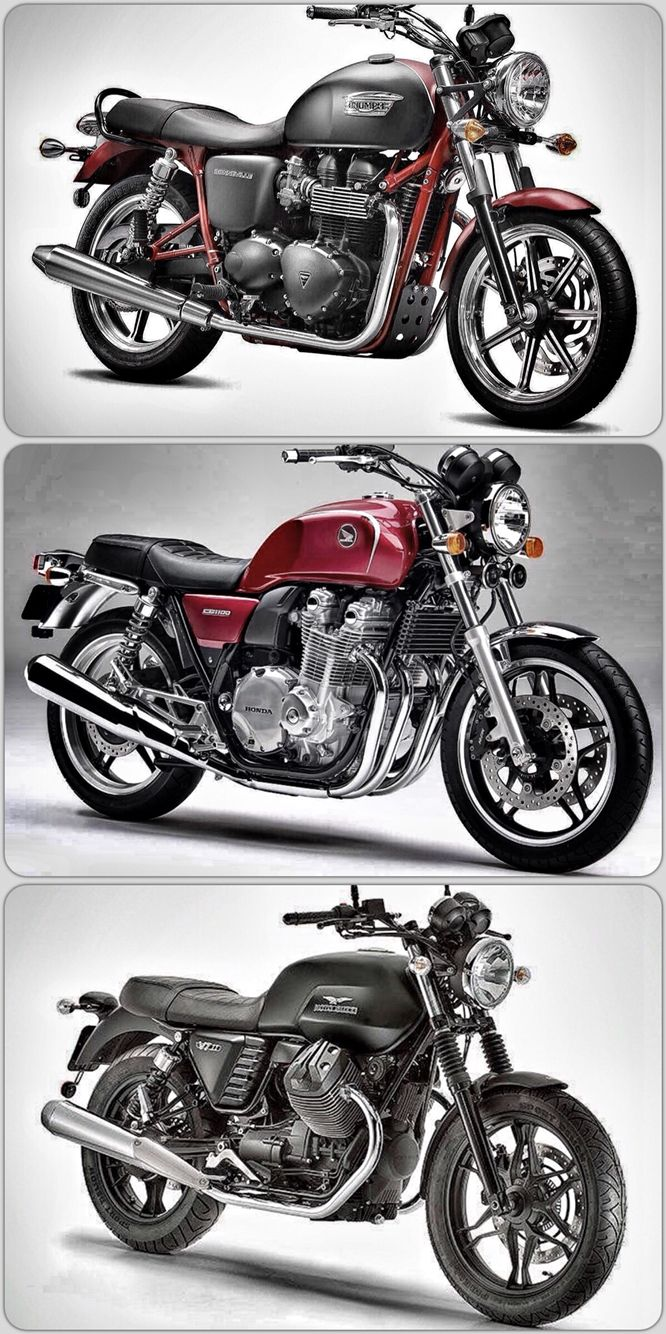 What do a triumph bonneville a honda cb1100 and a moto guzzi v7 ii stone