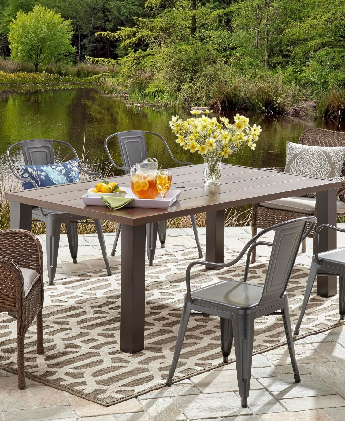 Backyard Chairs Camrose Farmhouse Steel Dining Table Modern Farmhouse Outdoor