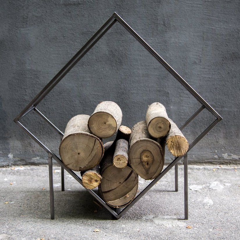 Small Firewood Holder Quadrat Box Minimalistic Storage Wood For Fireplace