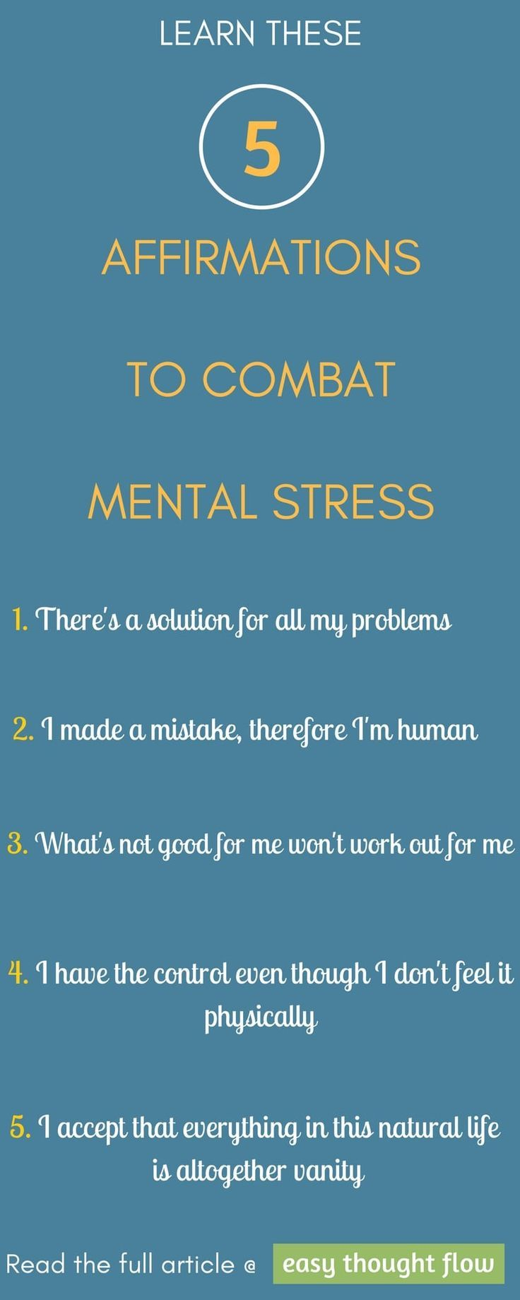 Five mighty affirmations that will combat mental stress | Positive  affirmations, Affirmation and Wisdom