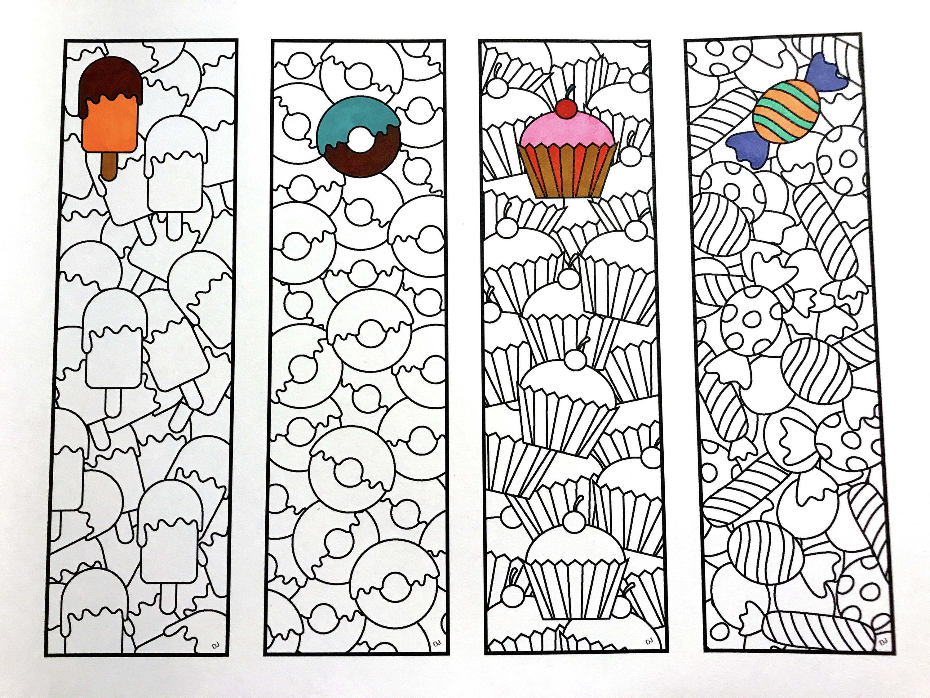 Sweets Bookmarks Pdf Zentangle Coloring Page Coloring Pages