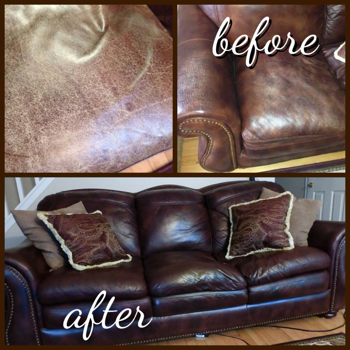 Janie in vermont is thrilled with the results of rub n restore cherrywood leatherdye and a final topcoat of clear prep finish on her leather sofa