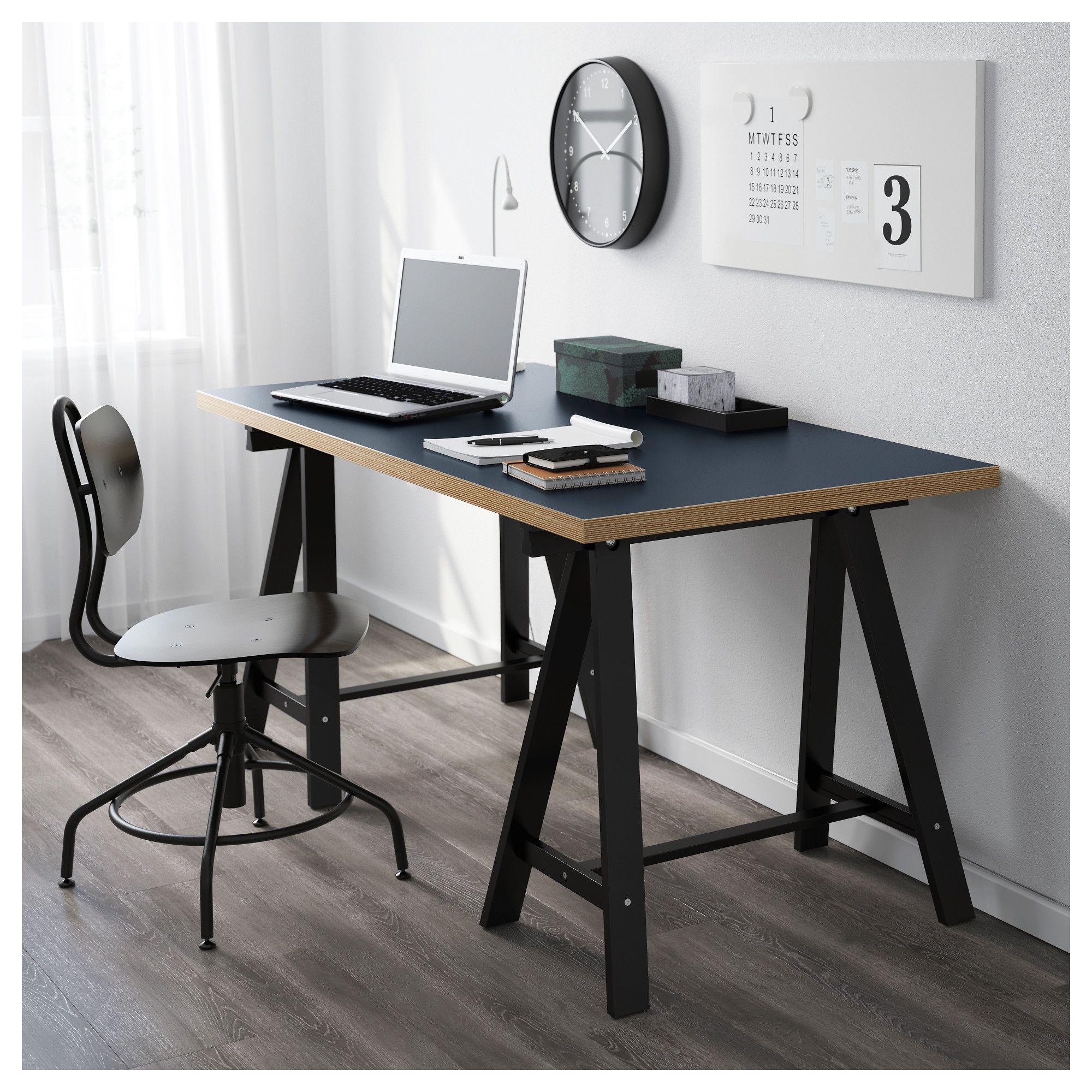"LINNMON / ODDVALD Table blue, black 59x29 1/2 "" (150x75"