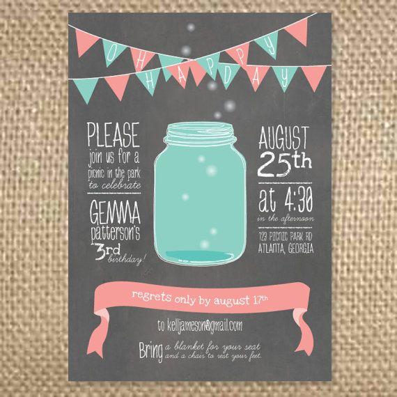 Picnic Firefly Mason Jar Birthday Invitation Summer Party – Picnic Party Invitations
