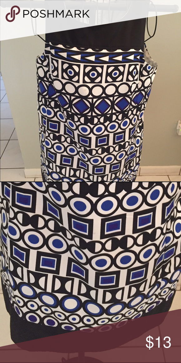 Stylish Pattern Dress Stylish pattern dress from Avon Mark. Blue, black, white Pattern. Size L fits above knee, may wear with tights for winter look Mark Dresses Mini