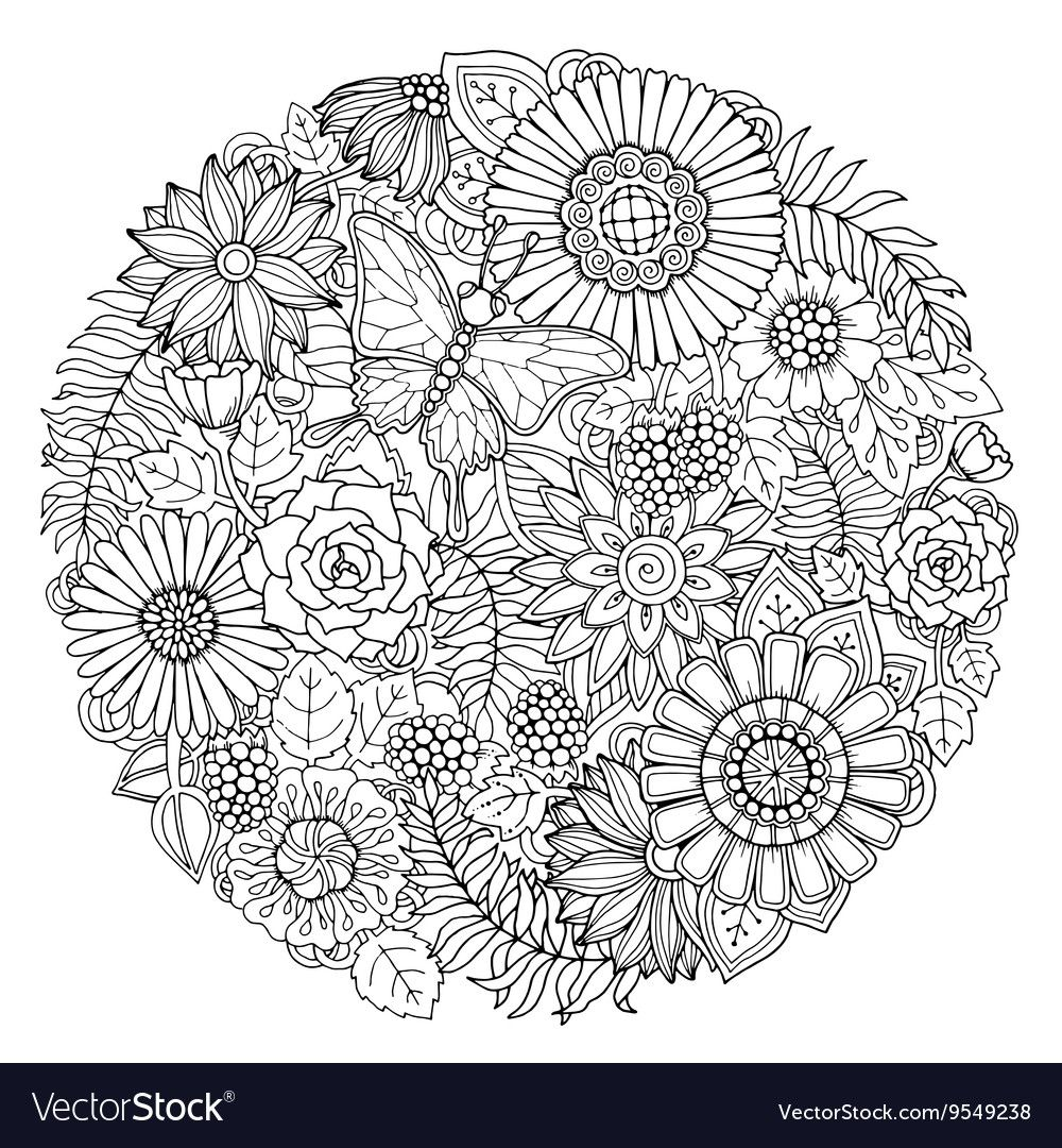 Circle Summer Doodle Flower Ornament With Vector Image Flower Doodles Hand Art Drawing Flower Coloring Pages