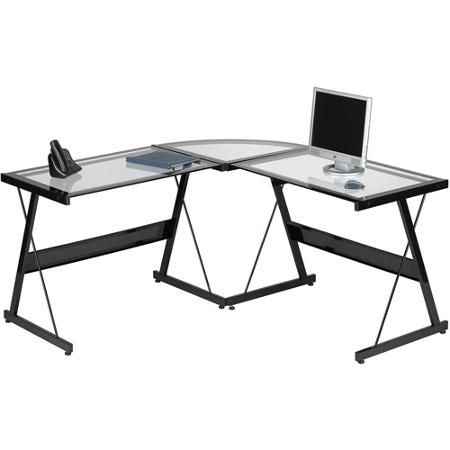L Shaped Computer Desk Contemporary Laptop Workstation Perfect Piece Of  Office Furniture Satisfaction Guaranteed 3 Piece Glass Corner Desk With  Spacious ...