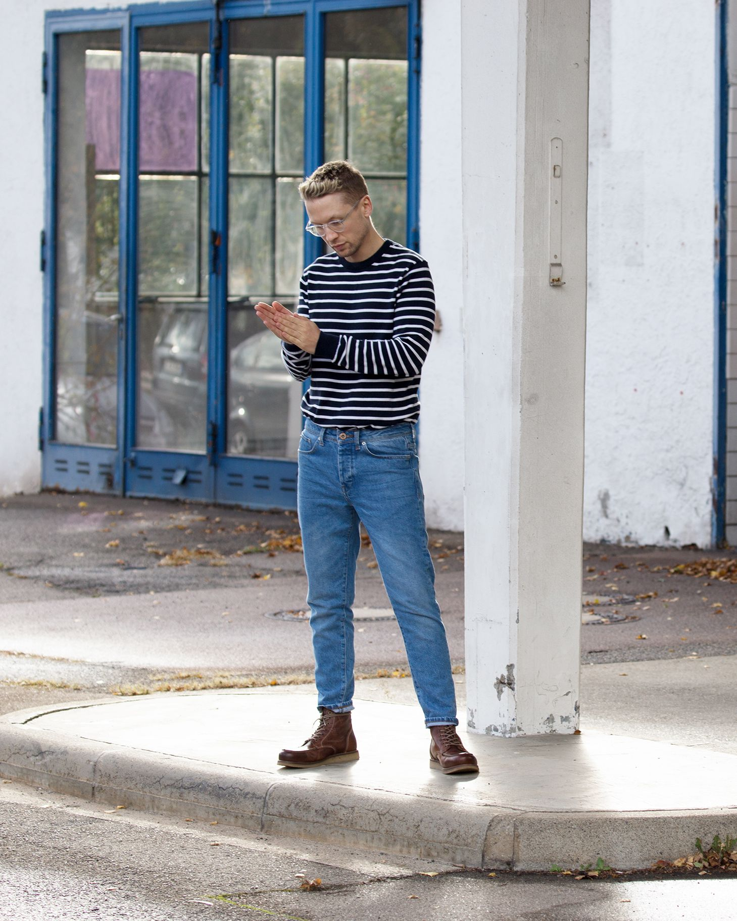 Mens Fashion High Waisted Vintage Style Blue Denim Jeans And Striped Navy And White French Look Pullover A White Jeans Men Jeans Outfit Men White Jeans Outfit