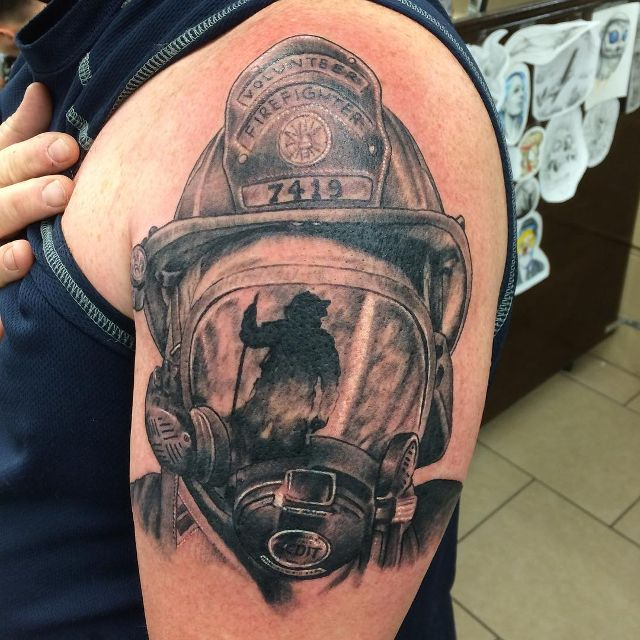 Black And White Firefighter Tattoo Fire Fighter Tattoos Fire
