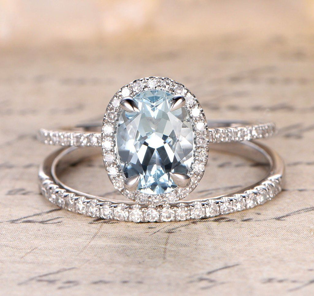 Charmant Oval Aquamarine Engagement Ring Sets Pave Diamond Wedding 14K White Gold  7x9mm