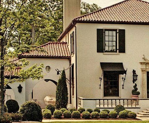 Nice finish scheme stucco roof color trim and shutter for Spanish style window shutters